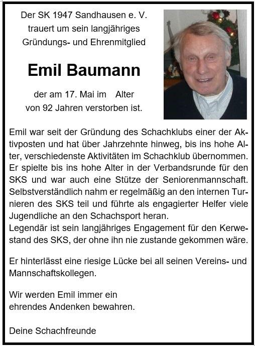 Traueranzeige Emil Baumann